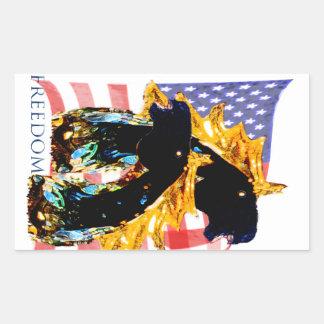 Patriotic Freedom Horses Rectangular Sticker