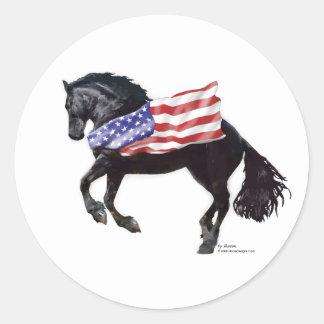 Patriotic Friesian Horse Flag Classic Round Sticker
