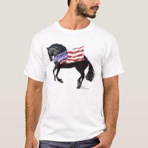 Patriotic Friesian Horse Flag T-Shirt