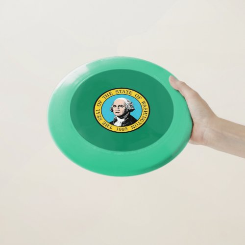 Patriotic Frisbee with Flag of Washington State