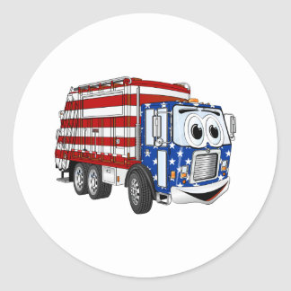 Patriotic Garbage Truck Cartoon Classic Round Sticker