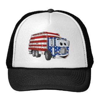 Patriotic Garbage Truck Cartoon Trucker Hat