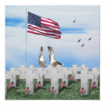 "Patriotic Geese Saluting The American Flag 5.25"" Square Invitation Card"
