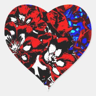 Patriotic Geraniums Heart Sticker