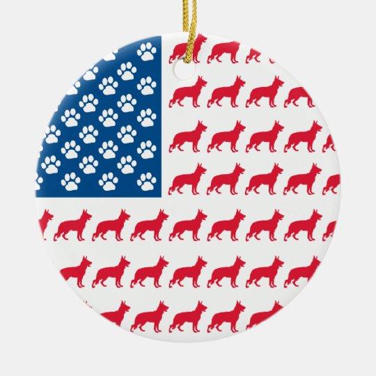 Patriotic German Shepherd Ceramic Ornament