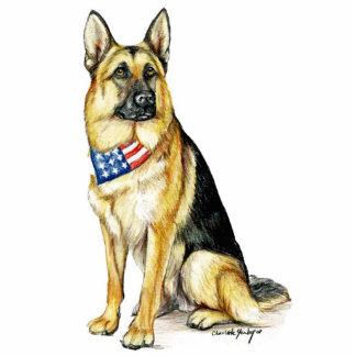 Patriotic German Shepherd Dog Art Key Chain Statuette