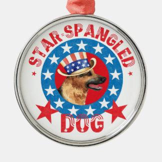 Patriotic German Shepherd Metal Ornament