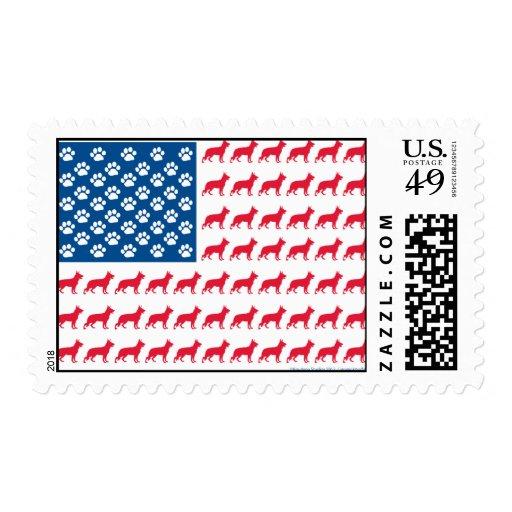 Patriotic German Shepherds Stamp