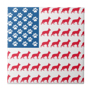 Patriotic German Shepherds Tile