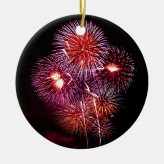 Patriotic Gifts Fireworks from the 4th of July Double-Sided Ceramic Round Christmas Ornament