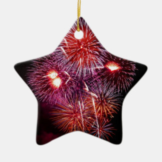 Patriotic Gifts Fireworks from the 4th of July Double-Sided Star Ceramic Christmas Ornament