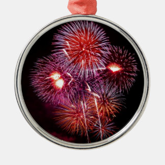 Patriotic Gifts Fireworks from the 4th of July Round Metal Christmas Ornament