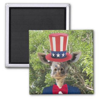 Patriotic Giraffe Magnet