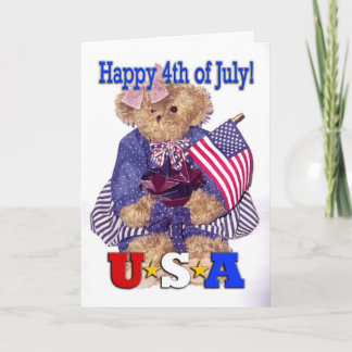 Patriotic Girl Bear - Happy 4th of July! Card