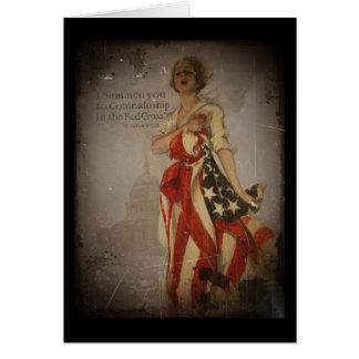 Patriotic Girl Draped in Flag Card