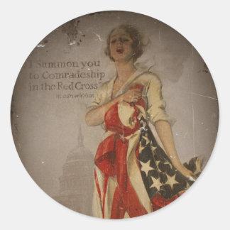 Patriotic Girl Draped in Flag Classic Round Sticker