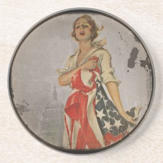 Patriotic Girl Draped in Flag Beverage Coasters