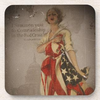 Patriotic Girl Draped in Flag Coasters