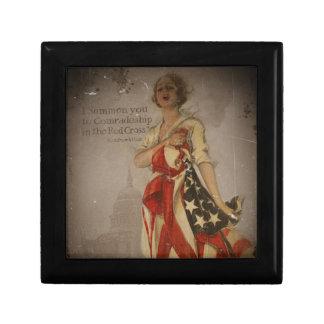 Patriotic Girl Draped in Flag Gift Box