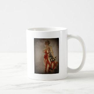Patriotic Girl Draped in Flag Basic White Mug