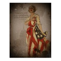 Patriotic Girl Draped in Flag Postcard