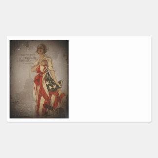 Patriotic Girl Draped in Flag Rectangular Sticker