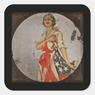 Patriotic Girl Draped in Flag Square Sticker