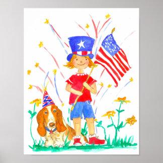 Patriotic Girl Hound Dog Independence Day Poster