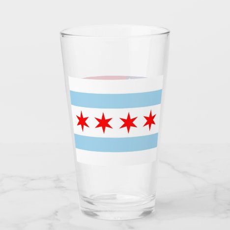 Patriotic glass cup with flag of Chicago