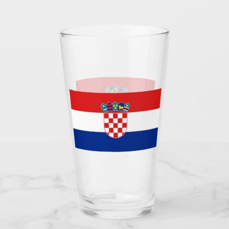 Patriotic glass cup with flag of Croatia