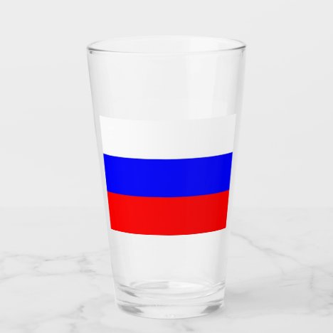 Patriotic glass cup with flag of Russia