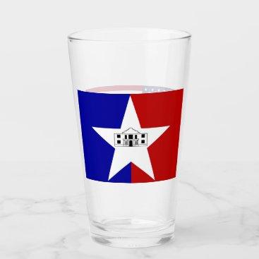 Patriotic glass cup with flag of San Antonio