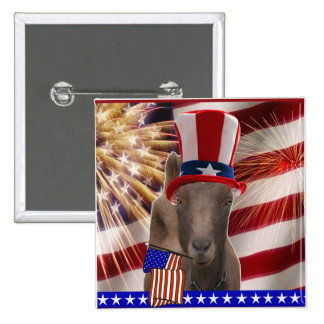PATRIOTIC GOAT 4th OF JULY GIFTS Button