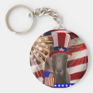 PATRIOTIC GOAT 4th OF JULY GIFTS Keychain