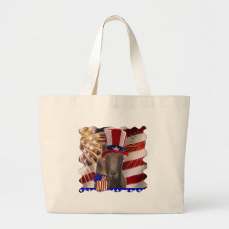 PATRIOTIC GOAT 4th OF JULY GIFTS Large Tote Bag