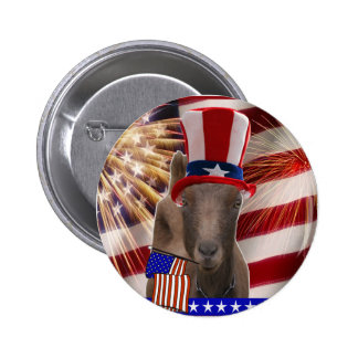 PATRIOTIC GOAT 4th OF JULY GIFTS Pinback Button