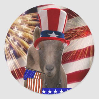 PATRIOTIC GOAT 4th OF JULY GIFTS Round Stickers
