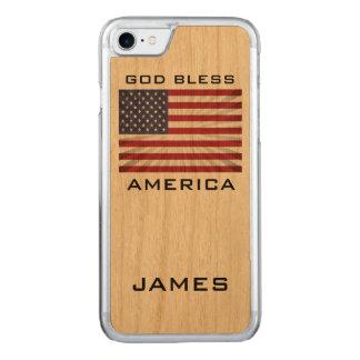 Patriotic God Bless America American Flag Monogram Carved iPhone 7 Case