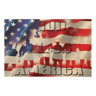 Patriotic God Bless America American flag Wood Wall Art