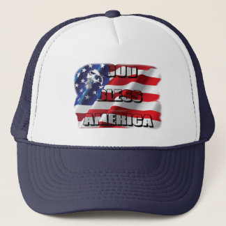 Patriotic God Bless America Eagle and Flag Trucker Hat