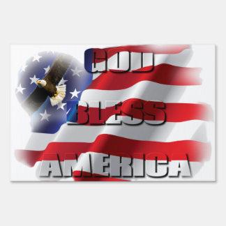 Patriotic God Bless America Soaring Eagle USA flag Sign