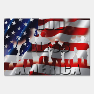 Patriotic God Bless America Soldiers and USA flag Lawn Signs