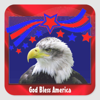 Patriotic God Bless America With Eagle Stickers