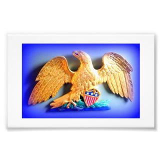 patriotic gold eagle photo print