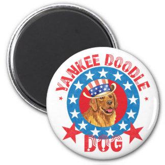 Patriotic Golden Retriever Magnet