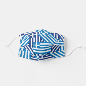 Patriotic Greek Flag Pattern Cloth Face Mask