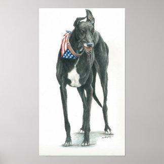 Patriotic Greyhound Dog Arr Print