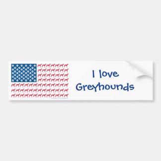 Patriotic Greyhound Dog Bumper Sticker