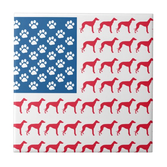Patriotic Greyhound Dog Ceramic Tile