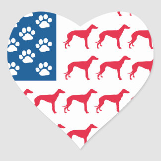 Patriotic Greyhound Dog Heart Sticker